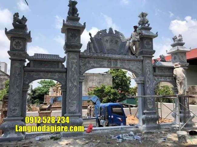 cổng tam quan đá đẹp tại Thái Bình