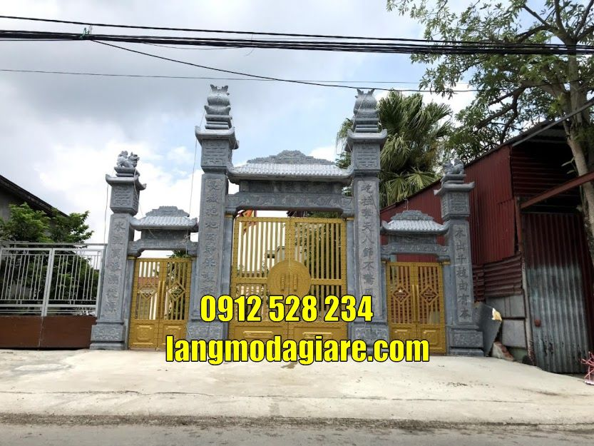Cổng từ đường nhà thờ tộc bằng đá tại hà nội