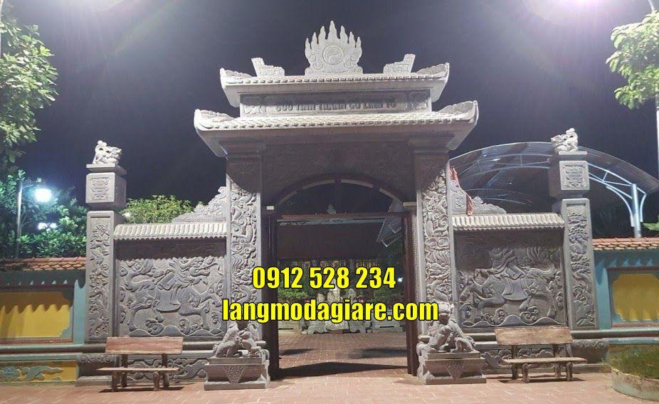 Lắp đặt mẫu cổng đình làng cổng nhà thờ họ bằng đá tại Hải Phòng