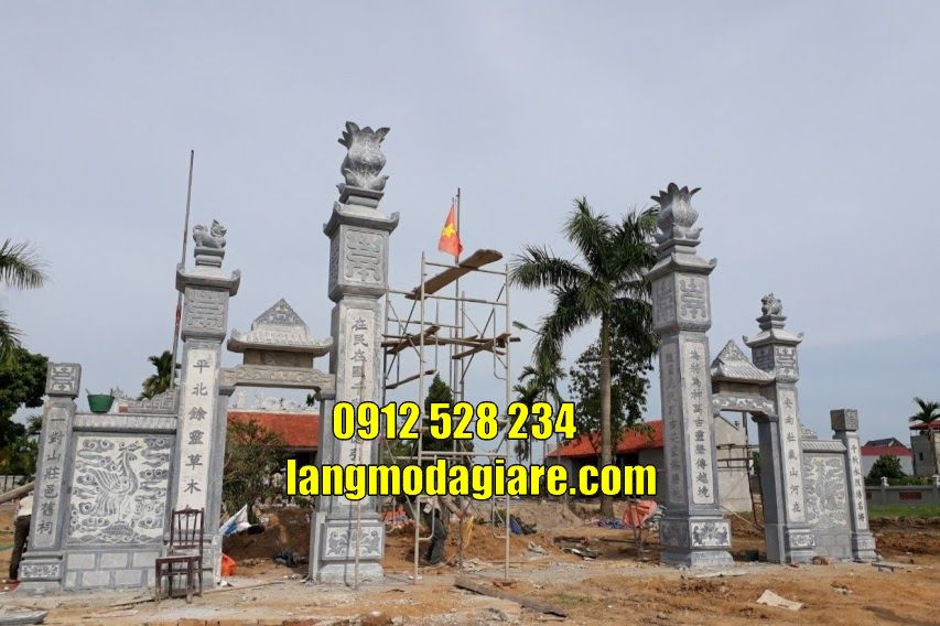 Mẫu cổng chùa kiểu tứ trụ bằng đá bán tại Đồng Nai