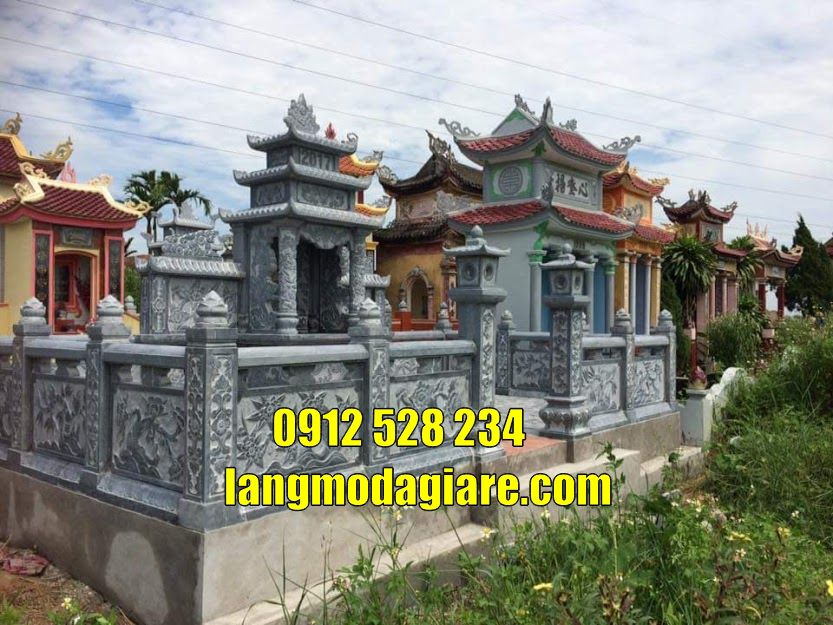 Lắp đặt khu lăng mộ gia tộc đẹp bằng đá tại  Nam Định lăng mộ đá